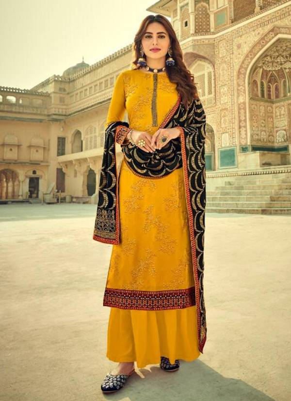 Eba Lifestyle Cadbury Series 1211-1215 Pure Viscose Upada Silk With Heavy Embroidery Work Exclusive Palazzo Suits Collection
