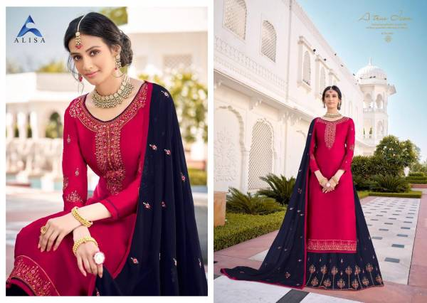 Alisa Kiara Vol 5 Series 5601-5606 Satin Georgette With Fancy Hand & Embroidery Work Long Lehenga Suits Wedding Wear Collection