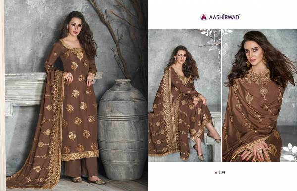Aashirwad Gulkand Ajrakh Series 7190-7196 Pure Dola Silk Designer Party Wear Straight Palazzo Suits Collection
