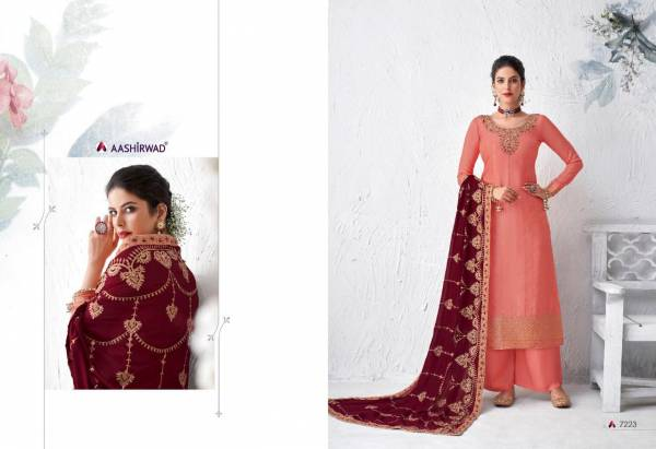 Aashirwad Gulabo Series 7218-7223 Pure Dola Silk With Designer Work Festival Wear Palazzo Suits Collection