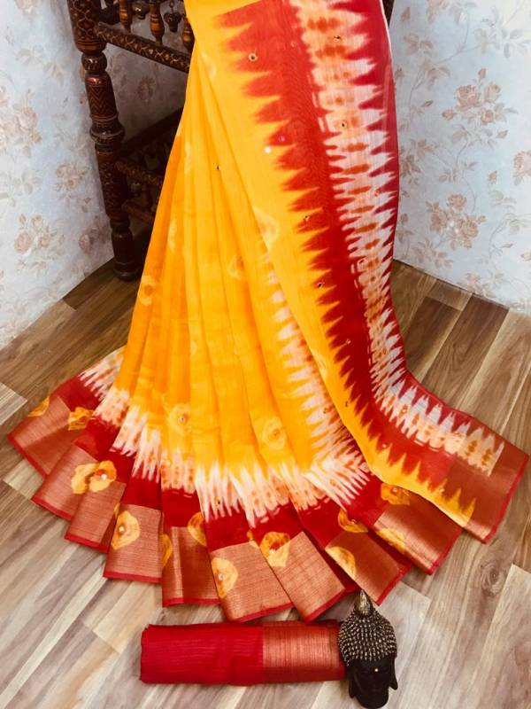 Manokamna Trendz Mirror Series SM-1 - SM-7 Soft Cotton With Mirror And Zari Work Trendy Look Designer Sarees Collection
