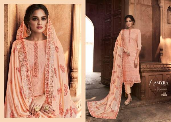 Amyra Designer Nazrana Vol 3 Series 111-115 Pure Viscose Chinnon With Heavy Exclusive Embroidery With fancy Diamond Salwar Suits Collection