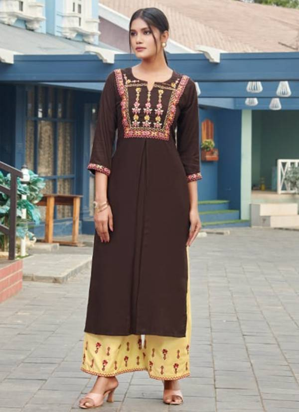Tips & Tops Meher Vol 2 Series 101-106 Fancy Rayon Slub With Heavy Embroidery Work Long Kurtis With Palazzo Collection