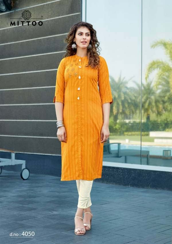 Mittoo Mohini Vol 4 Series 4048-4053 Viscose Rayon Stripes Fancy Mirror Hand Work Designer Kurtis With Pants Collection