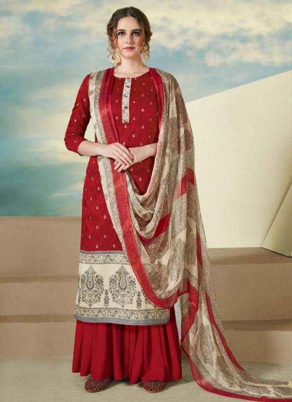 Sargam Prints Nazm Series S-186-001 - S-186-008 Pure Wool Pashmina Designer Print With Foil Special Witer Suits Collection