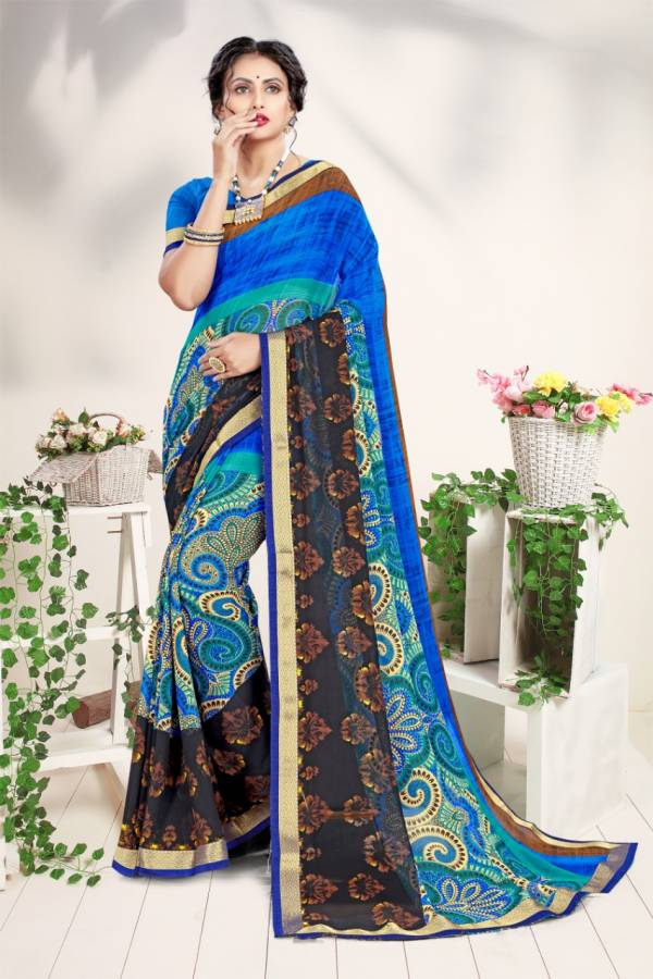 Sangam Infotech Rose Valley Series 1001-1006 Georgette Printed Daily Wear Sarees Collection