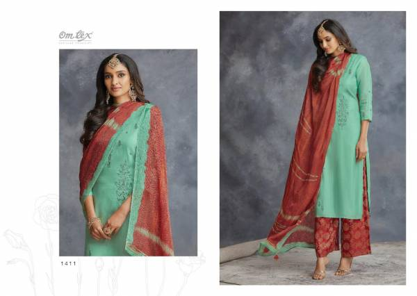 Om Tex Tathva Zaroon Silk With Embroidery Work Festival Wear Palazzo Suits Collection