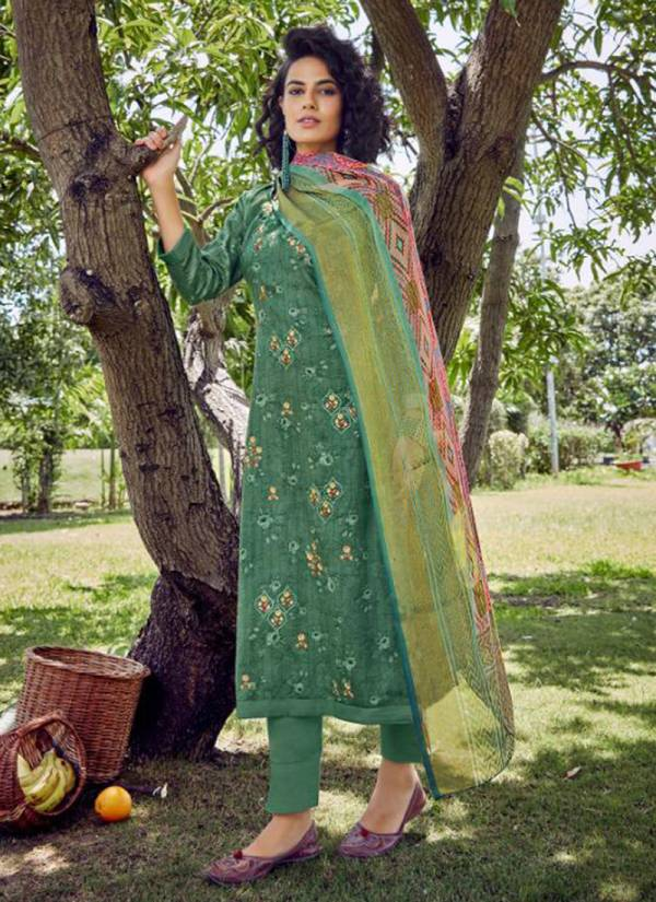 Kesari Trendz Brasso Dupatta Vol -2 Pure Cotton Satin Embroidery With Digital Print Work Eid Special Wear Salwar Suit Collections
