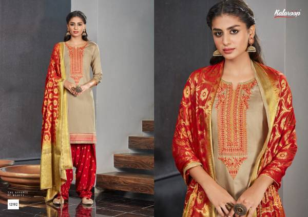 Kalaroop Suvarna Patiyala Vol 4 Jam Silk With Khatli Work Readymade Patiyala Suits Collection
