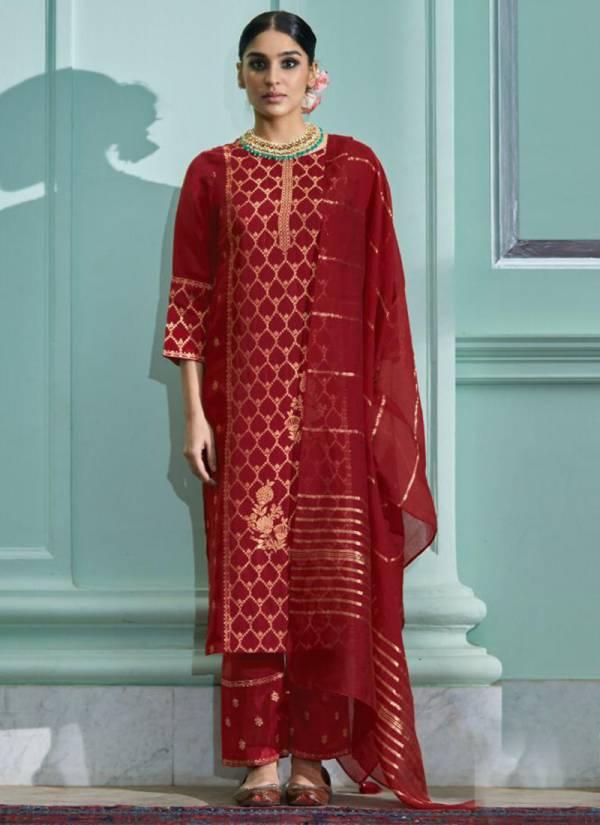 Four Dots Royalti Dola Jacquard Silk Festival Wear Readymade Salwar Suits Collection