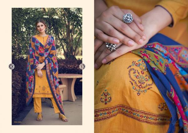 Sargam Prints Daisy Pure Jam Digital Print With Embroidery Work Palazzo Suits Collection