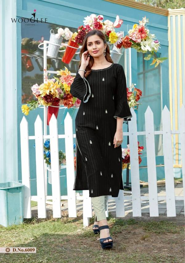 Wooglee Sparsh Vol 2 Series 6007-6012 Rayon Weaving Lining With Designer Embroidery & Hand Work Party wear Kurti With Bottom Collection