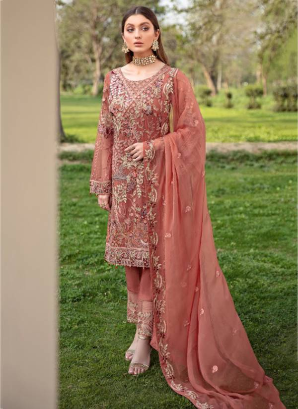 Noor Fashion Ramsha Georgette With Heavy Embroidery Work Wedding Wear Designer Pakistani Suits Collection