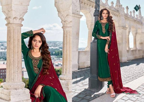 T F Royalsilk 12 Embroidery Work Pure Crepe Salwar Suits Collection