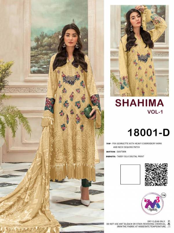 M3 Fashion Shahima Vol 1 Series 18001A-18001E Faux Georgette With Heavy Embroidery Work Designer Sequence Patch Work Pakistani Suits Collection