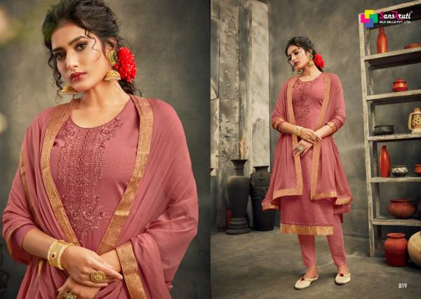 Sanskruti Sarah Series 819-824 Pure Jam Silk With Heavy Embroidery Work Latest Designer Casual Wear Churidar Suits Collection