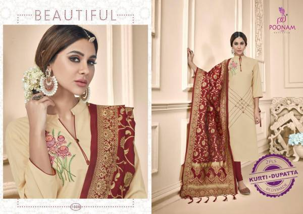 Poonam Designer Raas Soft Cotton With Embroidery Work Straight Kurtis With Dupatta Collection