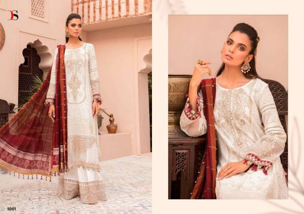 Deepsy Maria B Lawn-3 Pure Cotton Printed With Embroidery Work Wedding Wear Designer Pakistani Suits Collection