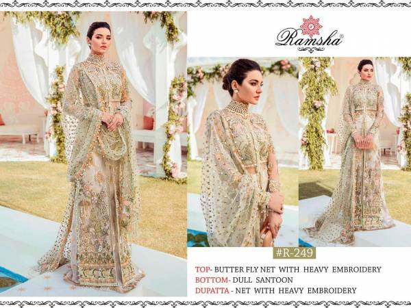 Ramsha Series R-249-R-250 Butterfly Net With Heavy Embroidery Work Party Wear Latest Designer Pakistani Suits Collection