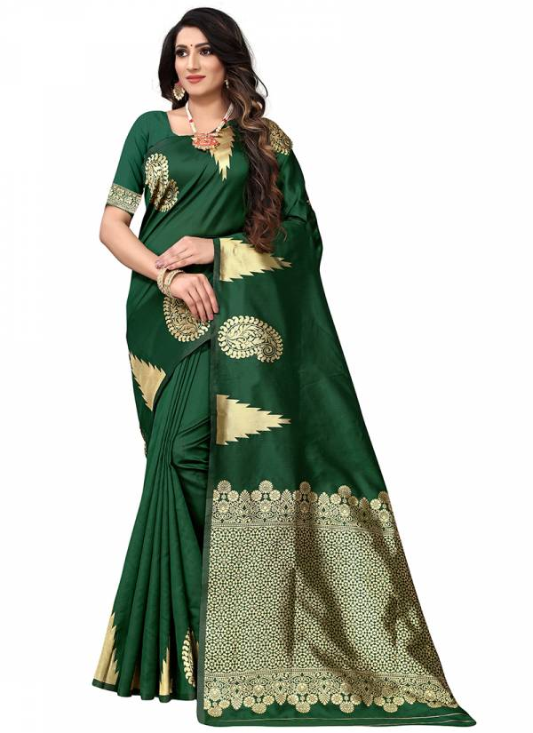 Naree Creation Temple Era Silk Weaving Border Jacquard Work Party wear Designer Saree Collections