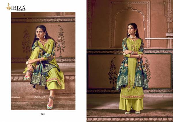 Ibiza Zalifah Series 661-668 Pure Muslin Jacquard With Fancy Embroidery Work Festival Wear Suits Collection