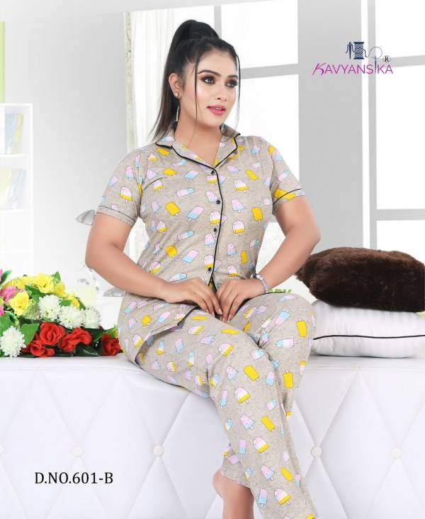 Kavyansika Night Suits Vol 601 Collar Hosiery Cotton Fancy Nightsuits Collection