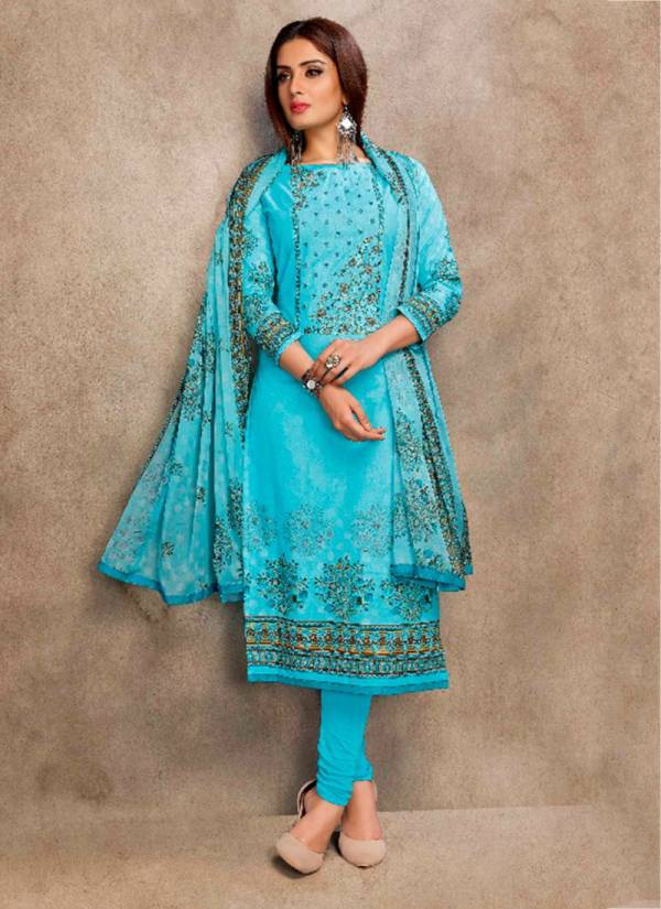 Bipson Rizwana Gull Series 5001A-5006B Fancy Glace Cotton Satin With Elegent Embroidery Work New Fancy Straight Suits Collection