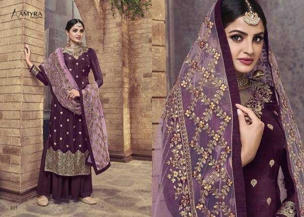 Amyra Designer Ceremony Series 101-106 Pure Dola Viscose With Diamond Work Exclusive Latest Designer Party Wear Palazzo Suits Collection