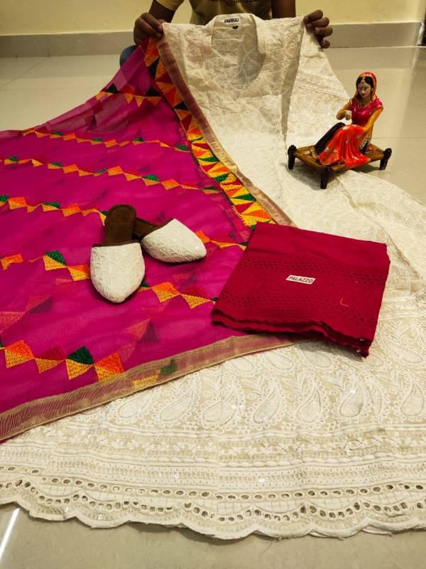 VE Pure Cotton Designer Phulkari Readymade Anarkali With Matching Punjabi Jutti Collection (38-48 Sizes)