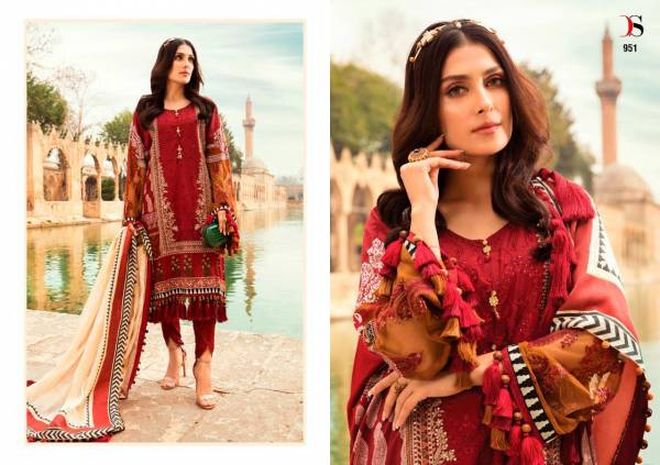 Deepsy Suit Maria B Lawn Pure Cotton Print With Embroidery Wedding Wear Pakistani Suit Collection