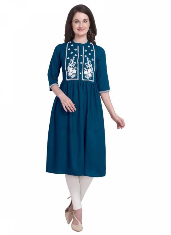 Niksha Fashion Series 01-04 Rayon With Aline Embroidery Work New Designer  Kurtis Collection