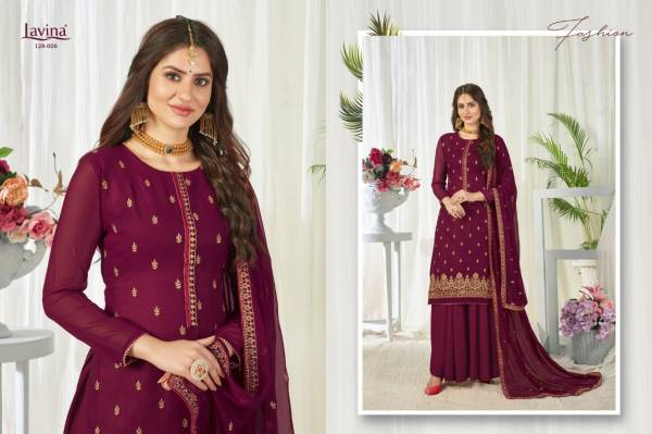 Lavina Vol 128 Georgette With Embroidery Work Palazzo Suits Collection