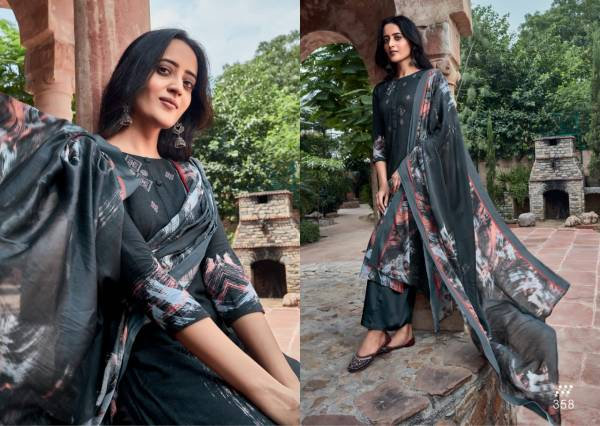 S-Nirukth Heer Cotton Satin Print With Embroidery Work Salwar Suits Collection
