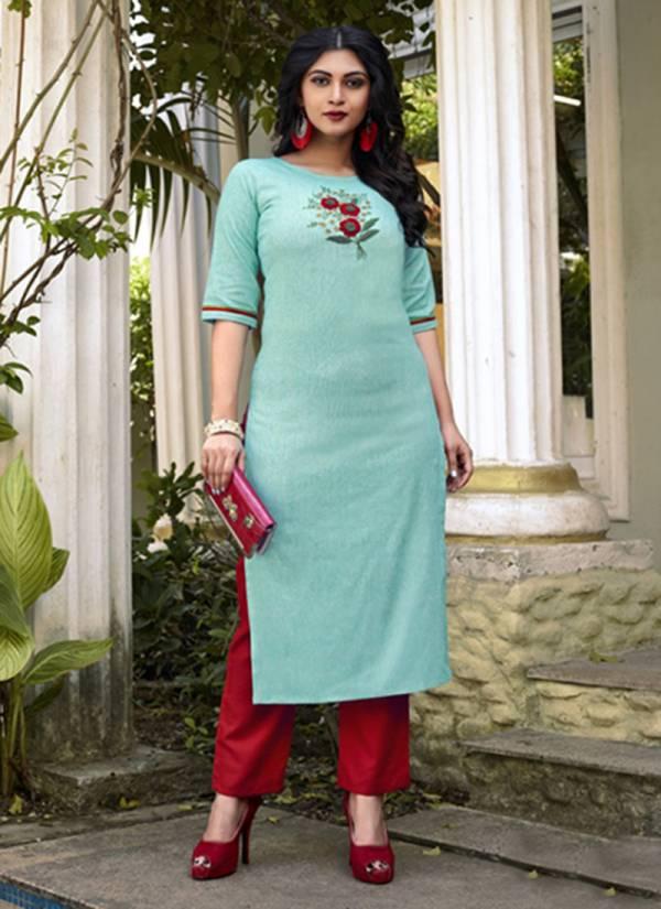 An Bazaar Krish Vol 11 Series Krisha1032-Krisha1037 Pure Cotton Fancy Embroidery Hand Work Kurti & Stylish Look Pent Collection