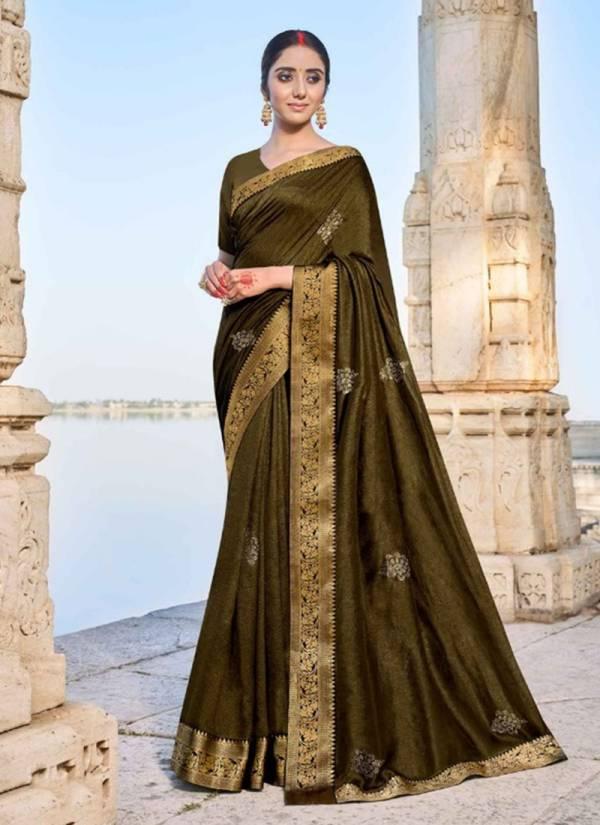 Right Women Designer Riddhi Vichitra With Swarovski Work Party Wear Designer Sarees Collection