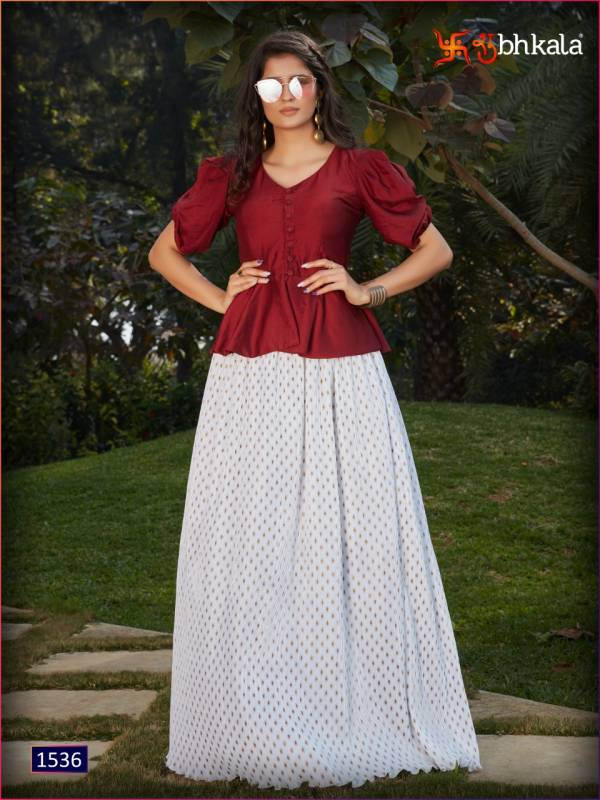 Shubhkala Frill & Flare Vol 2 Series 1531-1538 Fancy Imported Fabric Designer Fancy Top And Skirt Collection