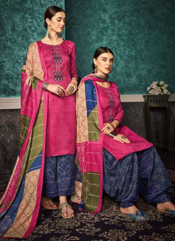 Winter Series 335-001 - 335-010 Pure Pashmina Print With Fancy Heavy Embroidery Work Winter Season Suits Collection