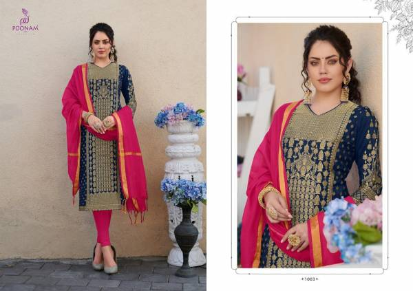 Poonam Designer Banarasi Foil Pure Rayon Kurti With Dupatta Collection