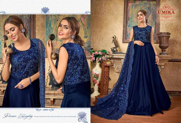Umika Designer Priya Series 1001-1011 Silk With Heavy Embroidery Work New Designer Floor Length Gowns With Dupatta Collection