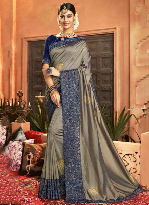Saroj Nupur NP47001 To NP47008 Heavy Embroidery Border Work Vichitra Silk Party Wear New Designer Sarees Collection