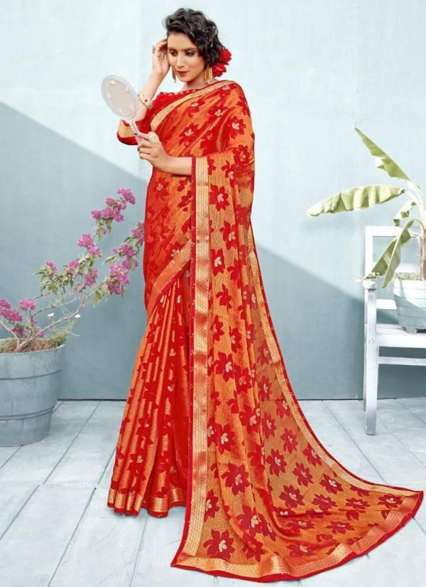 Mintorsi Kalini Brasso Chiffon Brasso Banarsi Lace And art Work Designer Sarees Collection