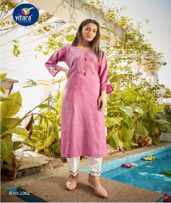 Vitara Fashion See More Rayon Embroidery Work Regular Wear Kurti With Pant Collections
