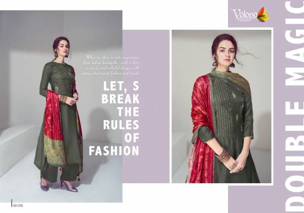 Volono Trendz Elan Vol 2 Series 2001-2007 Pure Jam Satin With Heavy Self Embroidery Work With Printed New Designer Palazzo Suits Collection