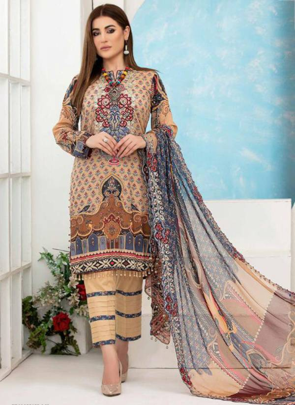 Jaffrani Textile Asifa And Nabeel Luxury Lawn Series 501-510 Pure Lawn Casual Wear Pakistani Style Printed Salwar Suits Collection