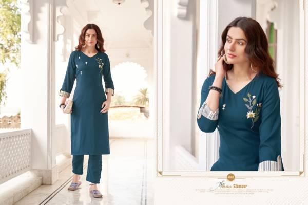 Kessi Fabric Kajree Namya Ruby Slub Hand Work Kurtis With Pants Collection