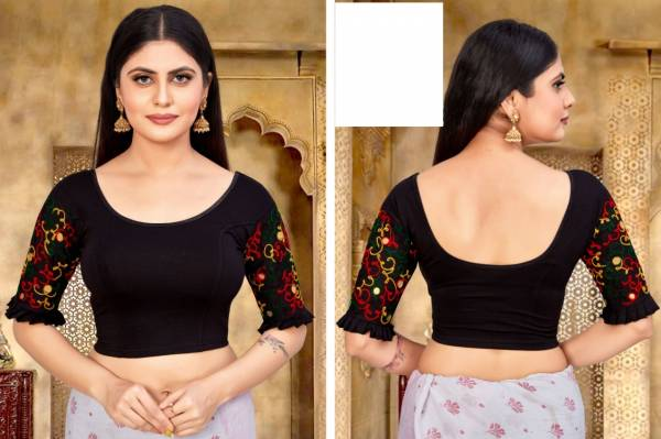 Ruhi Fashion Akshaya Lycra Cotton With Heavy Embroidery Work Readymade Blouses Collection