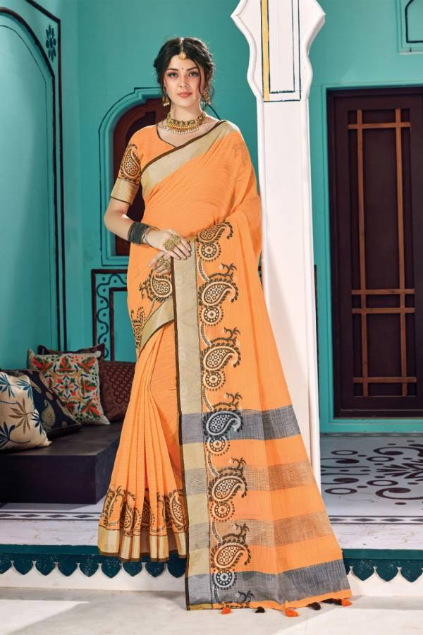 Sangam Prints Victoria Linen Cotton Fancy Look Sarees Collection