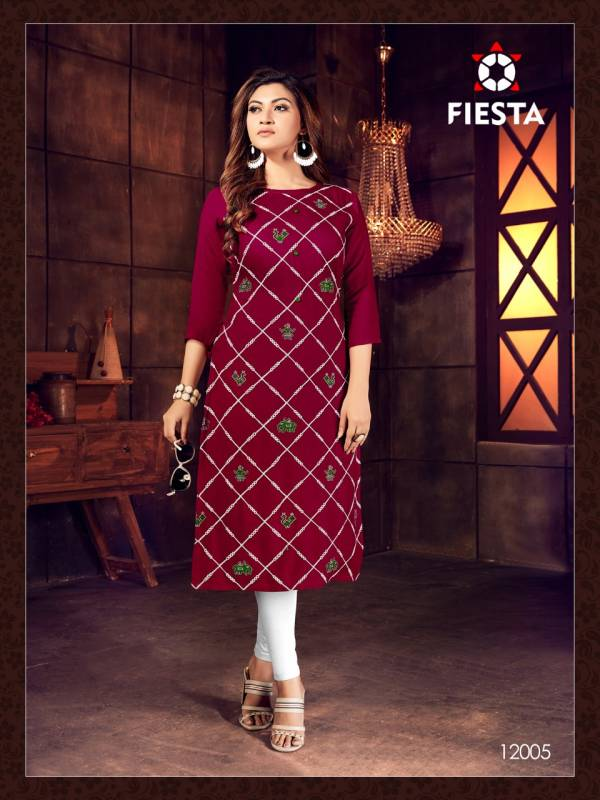 Fiesta Indian Culture Series 12001-12006 Rayon Slub With fancy Embroidery Work New Style Kurtis Collection