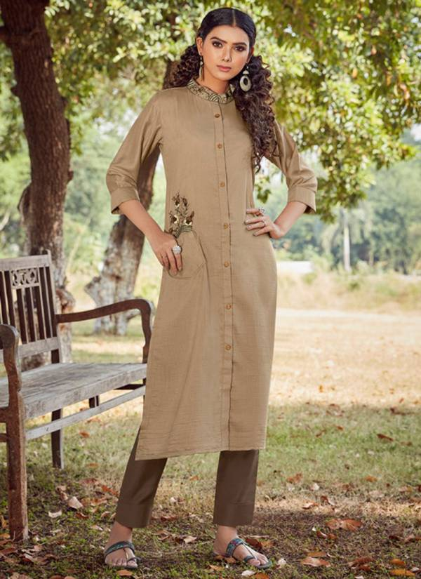 Kalaroop Floriana Series 12257-12262 Linen Silk New Designer Hand Work Straight Cut Kurtis With Pant Collection