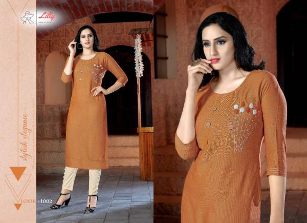 Lilly Pant House Series 1001-1004 Two Tone Rayon With Khtali Hand & Embroidery Work Daily Wear Kurtis With Pants Collection